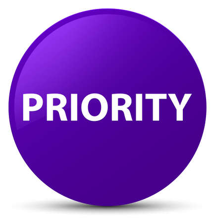 Priority isolated on purple round button abstract illustration Stock Photo