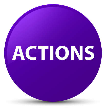 Actions isolated on purple round button abstract illustration