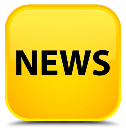 bulletin: News isolated on special yellow square button abstract illustration