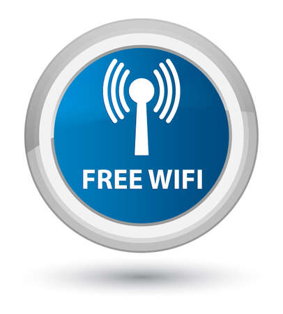 Free wifi (wlan network) isolated on prime blue round button abstract illustration