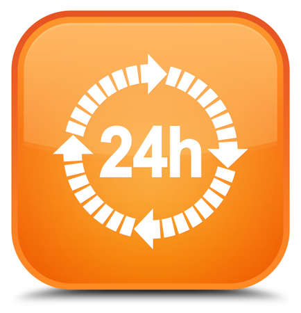 24 hours delivery icon isolated on special orange square button abstract illustration Stock Photo