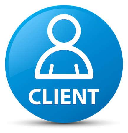 Cliënt (lidpictogram) op cyaan blauwe ronde knoop abstracte illustratie die wordt geïsoleerd Stockfoto