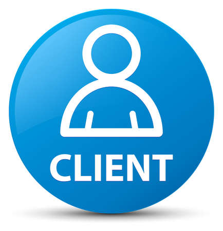consumer: Client (member icon) isolated on cyan blue round button abstract illustration