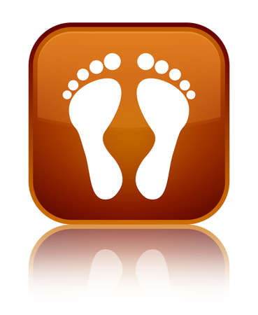 Footprint icon isolated on special brown square button reflected abstract illustration Stock Photo