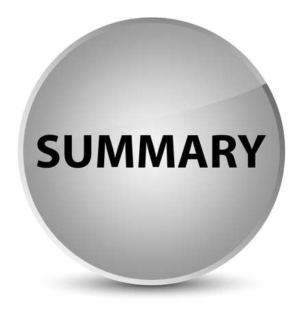 Summary isolated on elegant white round button abstract illustration Stok Fotoğraf
