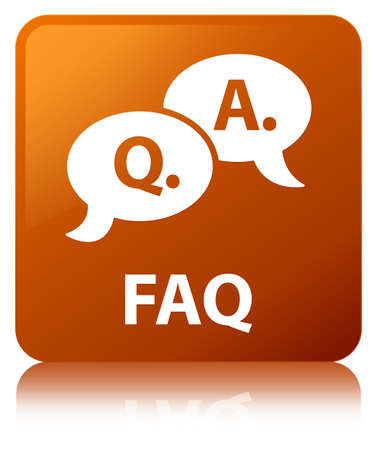 Faq (question answer bubble icon) isolated on brown square button reflected abstract illustration