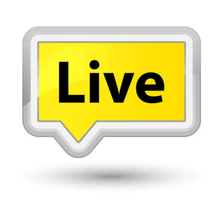 Live isolated on prime yellow banner button abstract illustration