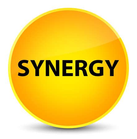 sinergia: Sinergia aislada en la elegante ilustración abstracta de botón redondo amarillo