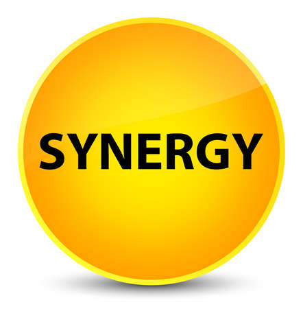 Synergy isolated on elegant yellow round button abstract illustration Stock Photo