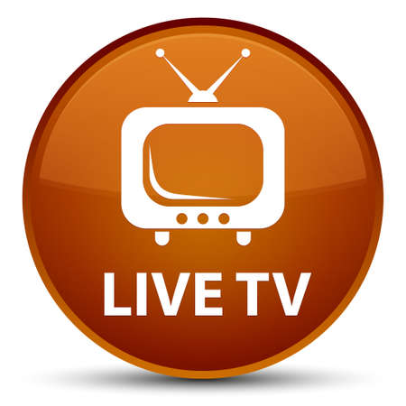 Live tv isolated on special brown round button abstract illustration