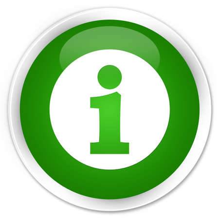 Info icon isolated on premium green round button abstract illustration