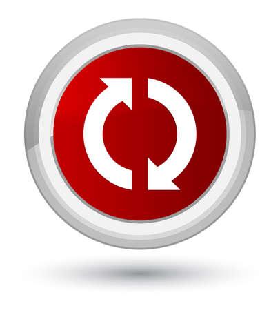 Icono de actualización aislado en primer plano ilustración de botón redondo rojo Foto de archivo