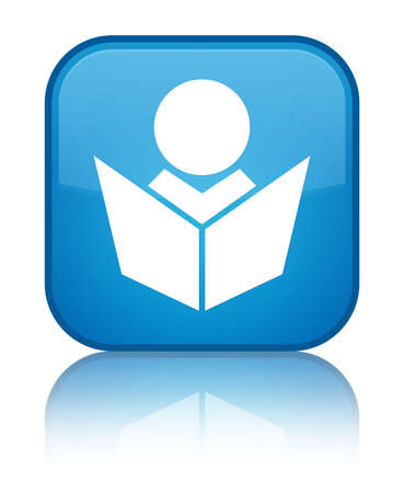 lesson: Elearning icon isolated on special cyan blue square button reflected abstract illustration