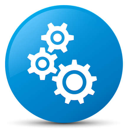 cogwheel: Gears icon isolated on cyan blue round button abstract illustration Stock Photo