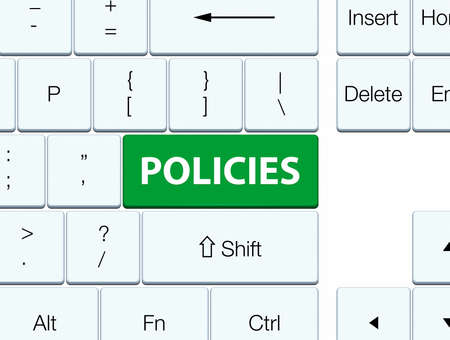 Policies isolated on green keyboard button abstract illustration Banco de Imagens