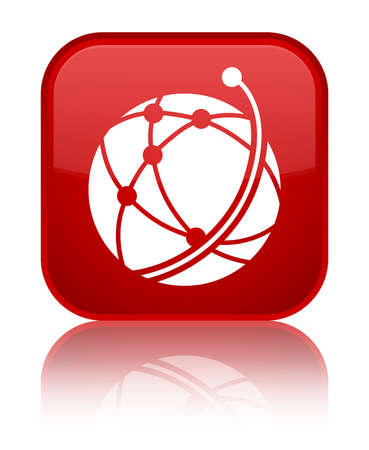 Global network icon isolated on special red square button reflected abstract illustration