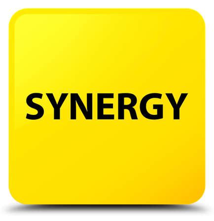 Synergie op gele vierkante knoop abstracte illustratie die wordt geïsoleerd