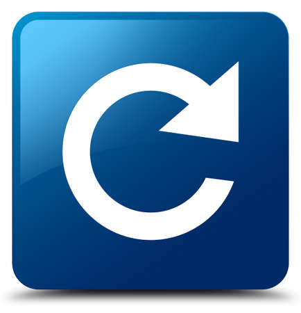 Reply rotate icon isolated on blue square button abstract illustration
