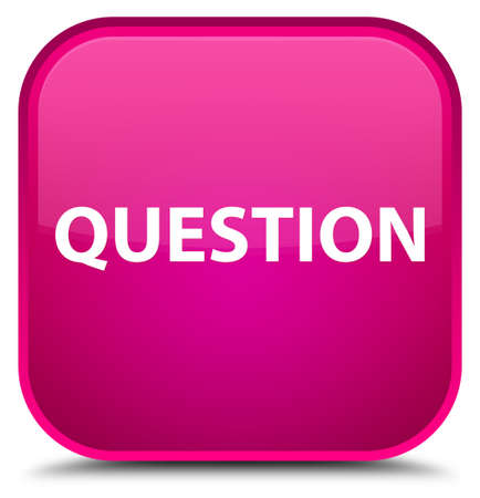 Question isolated on special pink square button abstract illustration Stock Photo