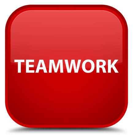 Teamwork isolated on special red square button abstract illustration Stock Photo