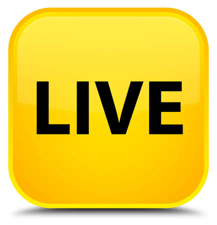 Live isolated on special yellow square button abstract illustration Stock Photo