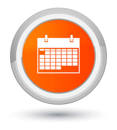 Calendar icon isolated on prime orange round button abstract illustration