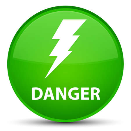Danger (electricity icon) isolated on special green round button abstract illustration Stock Photo
