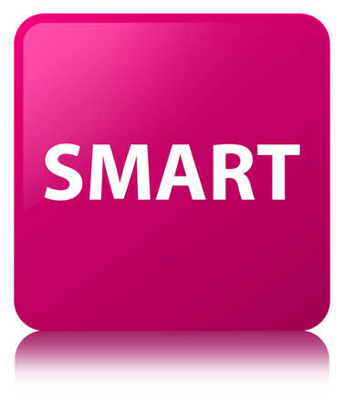 Smart isolated on pink square button reflected abstract illustration