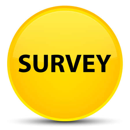 Survey isolated on special yellow round button abstract illustration
