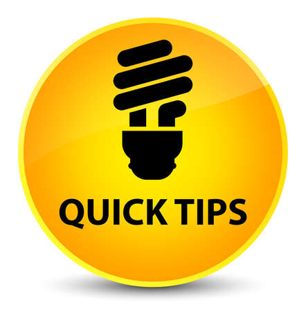 Quick tips (bulb icon) isolated on elegant yellow round button abstract illustration