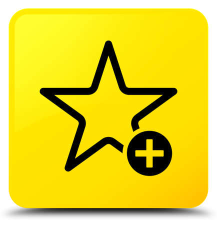 Add to favorite icon isolated on yellow square button abstract illustration Stock Photo