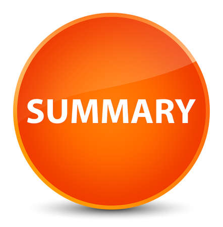 Summary isolated on elegant orange round button abstract illustration