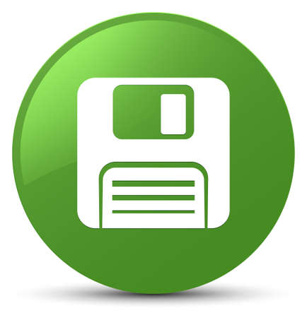 Floppy disk icon isolated on soft green round button abstract illustration Stock Photo