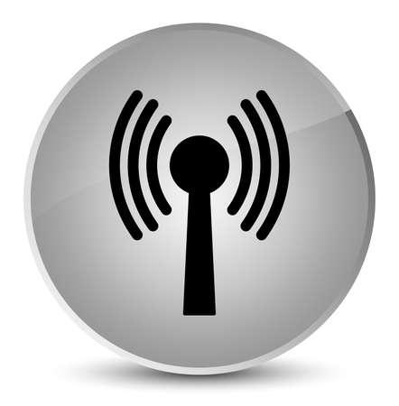 Wlan network icon isolated on elegant white round button abstract illustration
