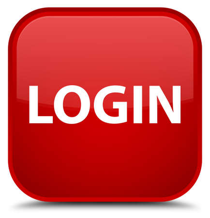 Login isolated on special red square button abstract illustration