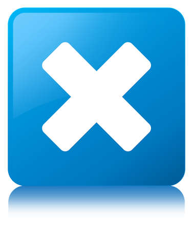 Cancel icon isolated on cyan blue square button reflected abstract illustration Stock Photo