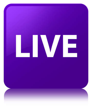 Live isolated on purple square button reflected abstract illustration