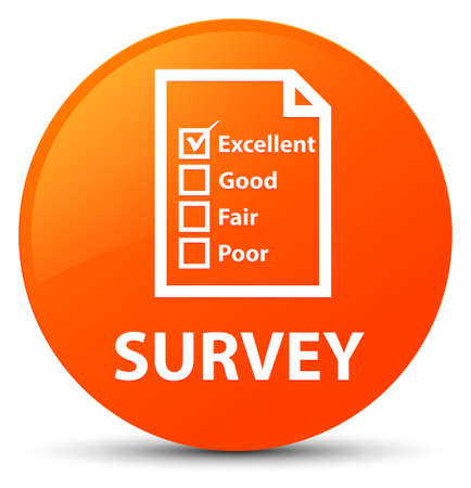 Survey (questionnaire icon) isolated on orange round button abstract illustration Stock Photo