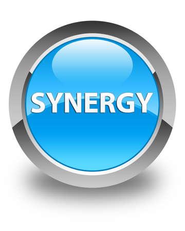 Synergie op glanzende cyaan blauwe ronde knoop abstracte illustratie die wordt geïsoleerd