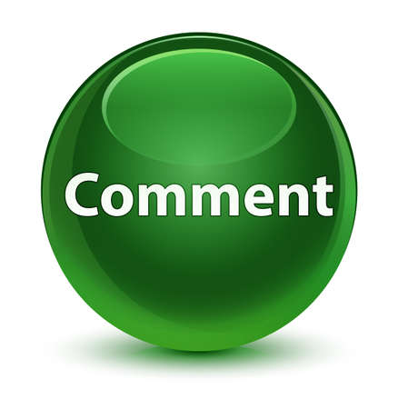 Comment isolated on glassy soft green round button abstract illustration
