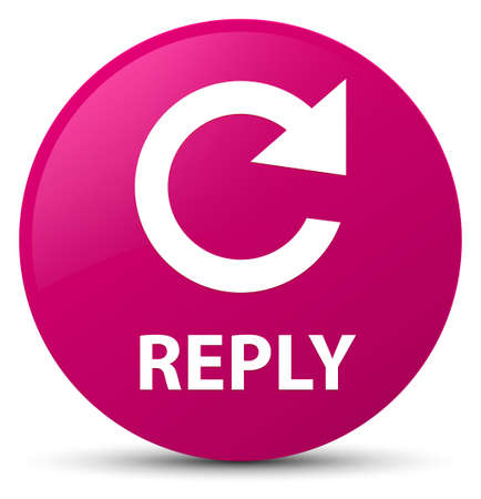 Reply (rotate arrow icon) isolated on pink round button abstract illustration