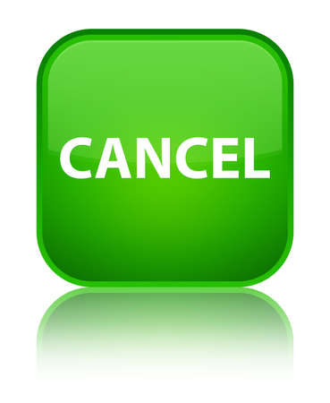banned: Cancel isolated on special green square button reflected abstract illustration Stock Photo