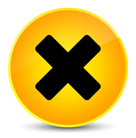 Cancel icon isolated on elegant yellow round button abstract illustration