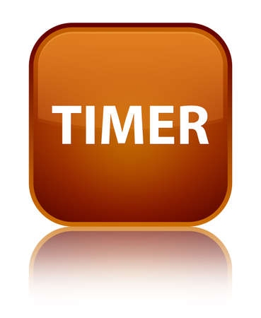 Timer isolated on special brown square button reflected abstract illustration