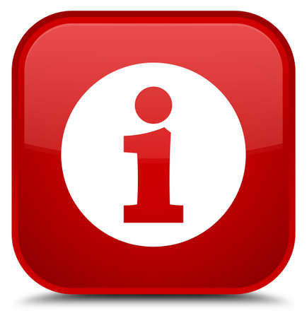 Info icon isolated on special red square button abstract illustration Stock Photo