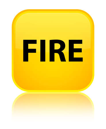 Fire isolated on special yellow square button reflected abstract illustration