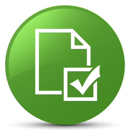 Survey icon isolated on soft green round button abstract illustration