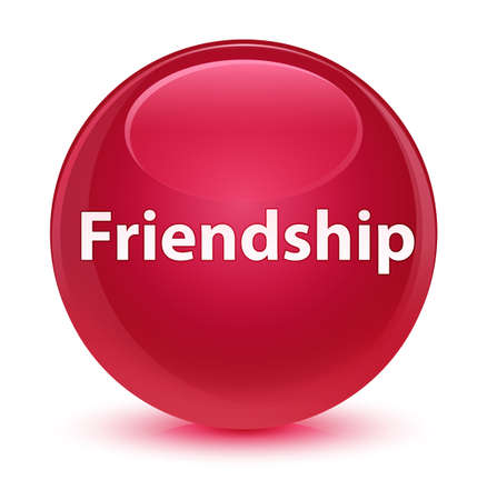 Friendship isolated on glassy pink round button abstract illustration