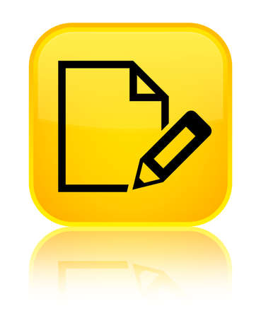 Edit document icon isolated on special yellow square button reflected abstract illustration