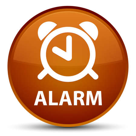 Alarm isolated on special brown round button abstract illustration